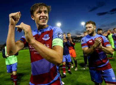 Drogheda United captain Jake Hyland celebrates after the game.