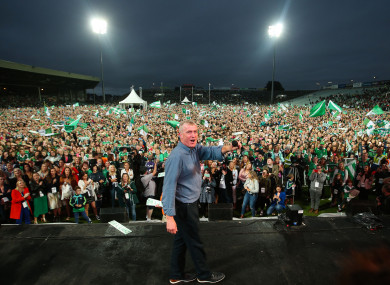 John Kiely celebrates with Limerick supporters at the Gaelic Grounds last night.