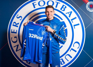 Lafferty with the Gers jersey.