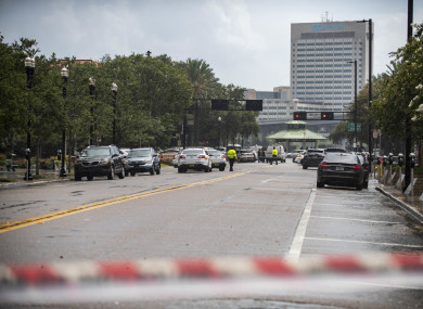 Police barricade a street near the Jacksonville Landing in the US following a mass shooting in the area