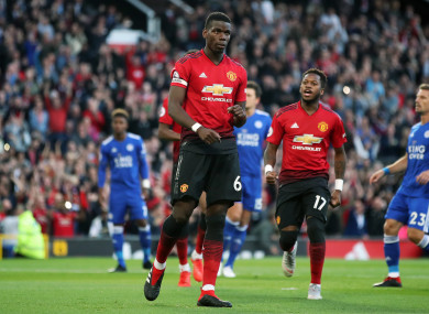 Pogba reacts after scoring a penalty on Friday.