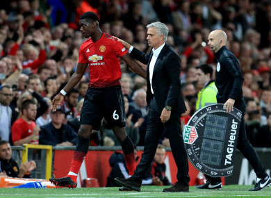 Paul Pogba with Jose Mourinho after the Manchester United star's substitution against Leicester City.