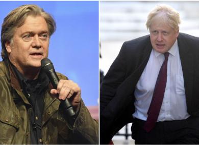 Former Trump aide Steve Bannon and former UK minister Boris Johnson.