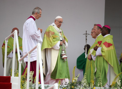 Pope Francis attends the closing Mass at the World Meeting of Families at Phoenix Park in Dublin.