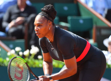 Serena Williams playing in the first round of the French Tennis Open 2018.