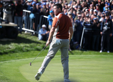 Rory McIlroy in action for Team Europe on Saturday.