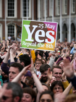 Yes campaigners with their posters celebrating their win in Dublin Castle in May.