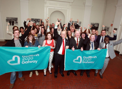 The winning Galway bid celebrating its announcement in 2016