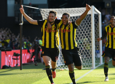 Craig Cathcart celebrates his goal with Troy Deeney.