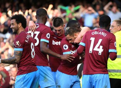 West Ham players celebrate.