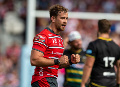 Gloucester Rugby's Danny Cipriani celebrates at the end of the Gallagher Premiership match at Kingsholm Stadium.