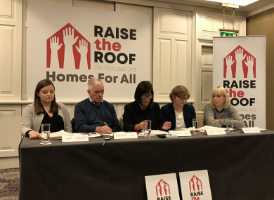 The panel of speakers at the launch of the Raise the Roof rally