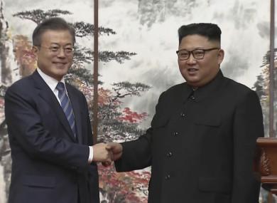 North Korean leader Kim Jong Un and South Korean President Moon Jae-in.