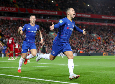 Eden Hazard celebrates scoring against Liverpool in the Carabao Cup on Wednesday night.