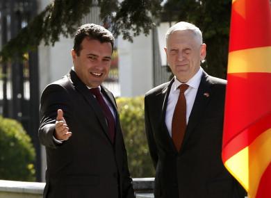Macedonian Prime Minister Zoran Zaev welcomes US Defense Secretary James Mattis to Skopje.