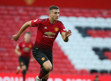 Dalot in action for Man United's U23s.