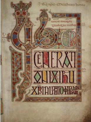 The opening of the Gospel of Matthew, in the Lindisfarne Gospels.