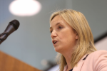 Gemma O'Doherty giving a speech in July.