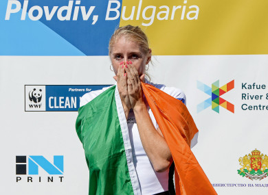 Ireland's Sanita Puspure becomes emotional after winning the gold medal.