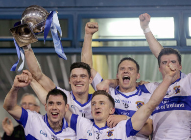 Diarmuid Connolly lifts the trophy following St Vincent's final win against Ballymun Kickhams last year.