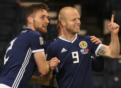 Steven Naismith celebrates scoring for Scotland.