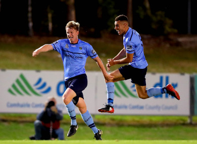 UCD's Timmy Molloy celebrates scoring their second goal of the game.