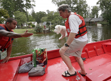 Susan Hedgepeth is assisted along with her dog Cooper by Coast Guard members