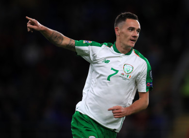 Williams celebrates his first senior goal for Ireland earlier this month.