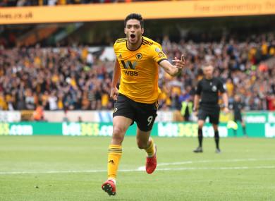 Wolverhampton Wanderers' Raul Jimenez celebrates scoring.