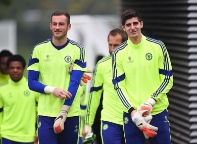 Beeney training alongside Thibaut Courtois.