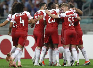 Arsenal celebrate against Qarabag.