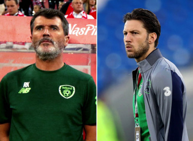 Republic of Ireland assistant manager Roy Keane and midfielder Harry Arter.