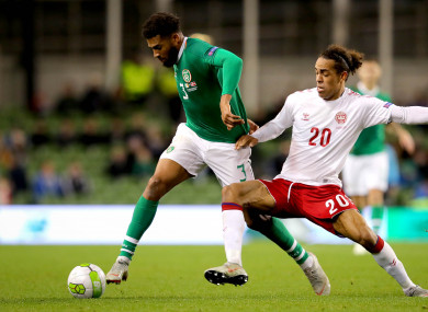 Ireland's Cyrus Christie and Yussuf Poulsen of Denmark.