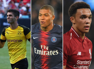 Christian Pulisic, Kylian Mbappe and Trent Alexander-Arnold.