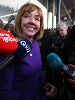 Presidential Candidate Joan Freeman speaking to the media at the Presidential election centre at Dublin Castle.