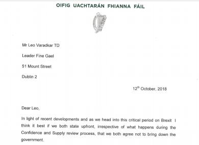 The letter Micheál Martin has sent to the Taoiseach.