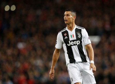 Cristiano Ronaldo pictured during tonight's match at Old Trafford.