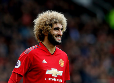 Marouane Fellaini in action for Man United.