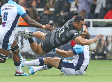 Newcastle Falcon's Sinoti Sinoti in action during at Kingston Park.