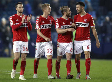 Middlesbrough's (from left to right) Jonathan Howson, George Saville, Adam Claytonand Danny Batth celebrate victory.