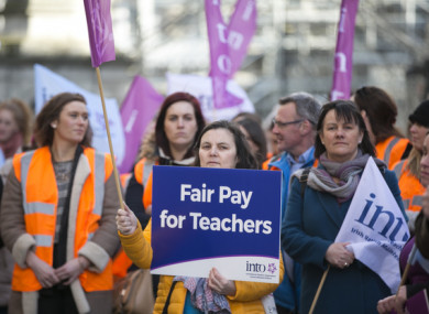 A protest over teachers pay earlier this year.