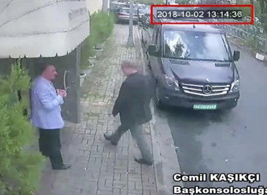 A still image claiming to show Saudi journalist Jamal Khashoggi entering the Saudi consulate in Istanbul on 2 October.