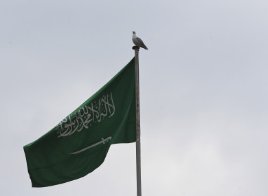 Saudi flag outside the embassy in Turkey