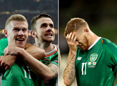 James McClean was the hero in Vienna but cut a dejected figure at full-time against Wales.