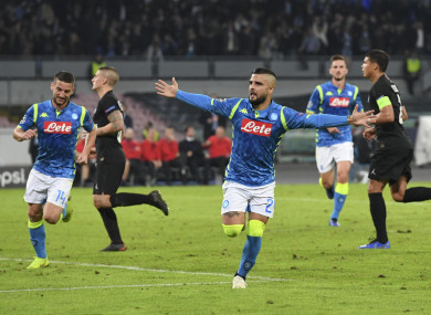 Insigne celebrates his penalty against PSG on Tuesday.