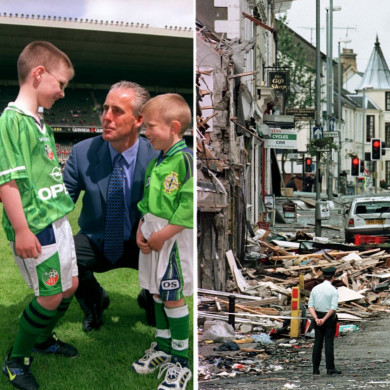 Mick McCarthy with mascots before the charity friendly and (right) aftermath of the Omagh bombing.