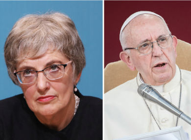 Katherine Zappone (L) and Pope Francis (R)