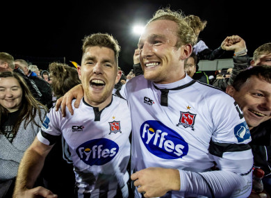 John Mountney (right) celebrates winning the SSE Airtricity League title last month.
