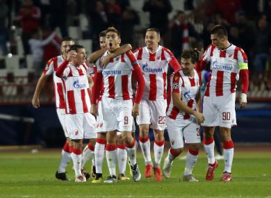 Milan Pavkov celebrates his second goal on Tuesday night.