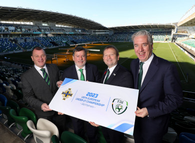 (Left to right): IFA CEO Patrick Nelson, FAI president Donal Conway, IFA president David Martin and FAI CEO John Delaney at Windsor Park.